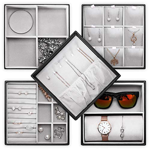 Homde Jewelry Tray Set of 5 Stackable Jewelry Organizer with Lid for Drawer Display Storage Box for Watch, Sunglasses, Necklace, Bracelet, Ring and Earrings