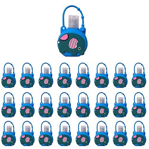 UANGER Recipiente de líquido de Silicona Cajas de Botellas Coloridas Dispensador de líquido 30 ml, Mochila portátil para niños Colgante de Dibujos Animados (N-25 Piezas)