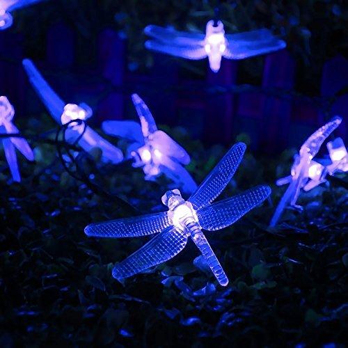 [8 modos de Iluminación] 30 LED de la libélula Solar Powered luz de hadas,DINOWIN 6 metros Solar cadena luces, Exterior Guirnaldas luminosas,para jardín,boda,decoración de hogar, fiesta (azul)