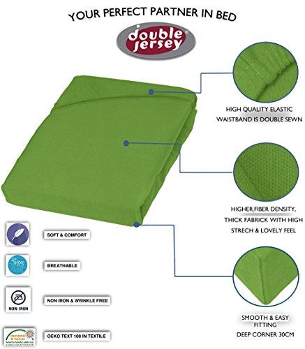 Double Jersey – Spannbettlaken 100% Baumwolle Jersey-Stretch bettlaken, Ultra Weich und Bügelfrei mit bis zu 30cm Stehghöhe, 160x200x30 Grün - 3