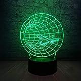 Lámpara de ilusión 3D Máquina de tiempo 3D Luz de noche Avión Forma de bocina Lámpara LED USB 7 Colores Cambiar Colorido GradienteIluminación Decoración Regalo de niño