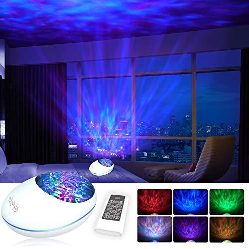 [2021 Neue]Projektor Lampe Bluetooth LED Farbwechsel Nachtlichter mit Remote Timer/8 Beleuchtungsmodi/Musikspieler/TF Karte Dekorative Licht für Kinder Geburtstag Weihnachten Geschenk Stimmungslicht