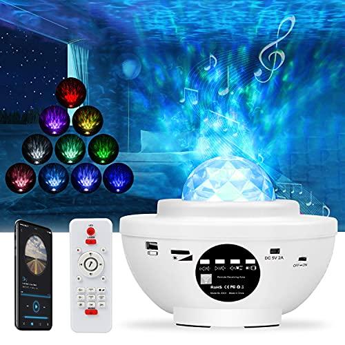 Yaasier Proyector Estrellas, 21 Modos Lampara Estrellas Proyector,Proyector Estrellas Techo con Altavoz Bluetooth Incorporado, Proyector Portatil con Temporizador, para Dormitorio/Decoración/Regalos
