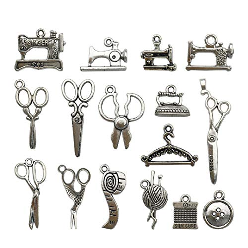 Youdiyla 68 PCS Silver Sewing Charms Collection - Mix Antique Scissor Pipe Yarn Clew Button Pendant Metal Supplies Findings for Jewelry Making (HM3)