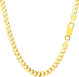 "TheDiamondDeal Mens Solid 14K Yellow Gold Or White Gold 4.7mm Shiny Cuban Comfort Curb Chain Necklace For men for Pendants Or Bracelet with Lobster-Claw Clasp (8.5"", 20"", 22"" or 24 inch)"