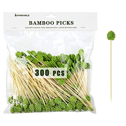 Bamboo Cocktail Picks Bamboo Skewers Food Picks 4.7 Inch Toothpicks with Handmade Design Skewers for Party Fruit and Food Snacks (Leaf, 300)