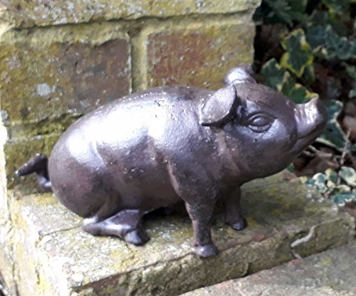 CB Cast Iron Brown Pig Garden Ornament Statue Metal Sitting Hog 22cm