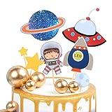 Svnaokr Decoración para tartas, diseño de astronauta con sistema solar, decoración para tartas, decoración de cumpleaños (astronauta)