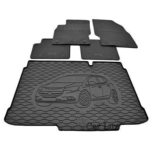 Car Lux DUO06064 - Tappetino protettivo per bagagliaio e tappetini in gomma su misura per Opel Corsa D dal 2006-