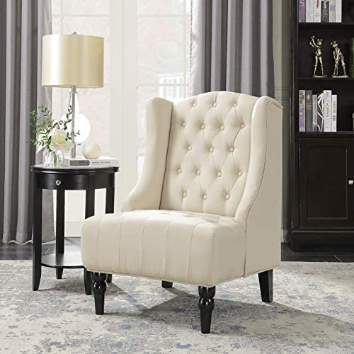 Best BELLEZE Tall Wingback Tufted Fabric Accent Chair Tufted High Back with Nail Head, Beige