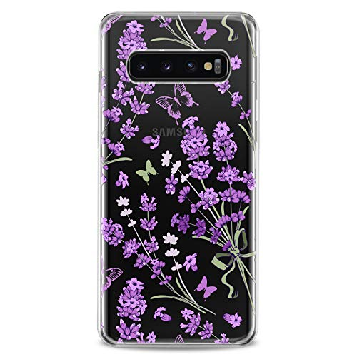 Cavka TPU Case Compatible with Samsung Galaxy A72 A70 A51 A50 A40 A30 A20 A11 A12 A10 Soft Beautiful Purple Girls Women Design Print Plant Clear Lavenders Flexible Silicone Slim fit Cute Kids Awesome