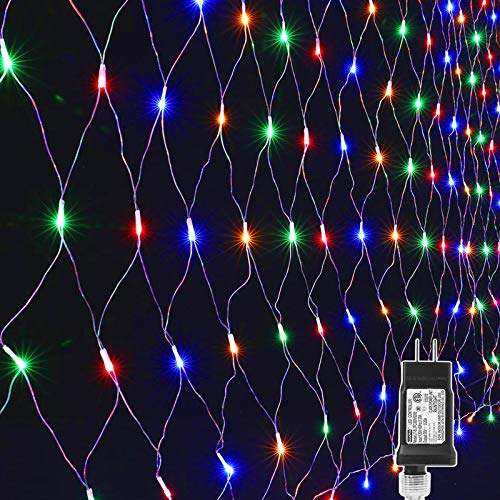 Lyhope 12ft x 5ft 360 LED Christmas Net Lights, 8 Modes Low Voltage Mesh Christmas Decorative Lights for Xmas Trees, Bushes, Wedding, Garden, Outdoor, Indoor Decor (Multi-Color)