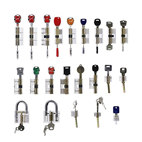 Loboo Idea 22-tlg. Verschiedene transparente Cutaway-Innenansichtsschlösser / Übungsschlösser Übungsschlösser Set transparente sichtbare Cutaway-Crystal-Pin-Tumbler-Vorhängeschloss-Lock-Picking-Set