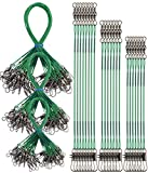 Fireboomoon 72 PCS Fishing Leader Wire,Tooth Proof Nylon-Coated Steel Fishing Line Wire Leaders with Swivels and Snaps(Green,3 Sizes)
