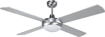 Orbegozo CPVentilateur de plafond avec télécommande et lumière 4pales 132cm de diamètre Puissance de 60W et 3vitesses argent métallique