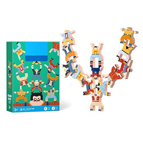 Juegos de apilamiento de madera, monos entrelazados, juegos de bloques de equilibrio, juguetes educativos para niños de 3, 4, 5, 6 años, niños y adultos, 12 piezas