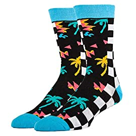 Oooh Yeah Men's Novelty Crew Socks, Funny Crazy Silly Casual Dress Cotton Socks 1 COMBED COTTON Socks size 10-13. One size fits most men. BOLD & BRIGHT - Welcome to the year of the pattern. Whether you prefer to wear them on shirts, pants, or blazers, bold patterns are taking the world by storm. Socks aren't immune from the pattern fever, and for good reason- colorful socks add a unique punch to any outfit, from dressy suits to casual jeans. QUALITY CONSTRUCTION - Oooh Yeah Socks! are constructed to look good and built to last. The high quality construction gives these socks extra durability and flexibility during wear. For you, this means a pair of socks great for all day wear, no matter what you're up to. Standing on your feet working, formal events, even lounging around the house, Oooh Yeah Socks! are great for any occasion.