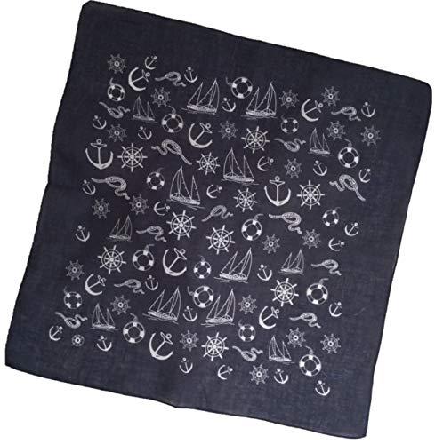 Dunkel-blaues Nickituch | Kopftuch mit maritimen Motiven | Bandana aus 100% Baumwolle | Halstuch 53 x 53 cm | Teichmann