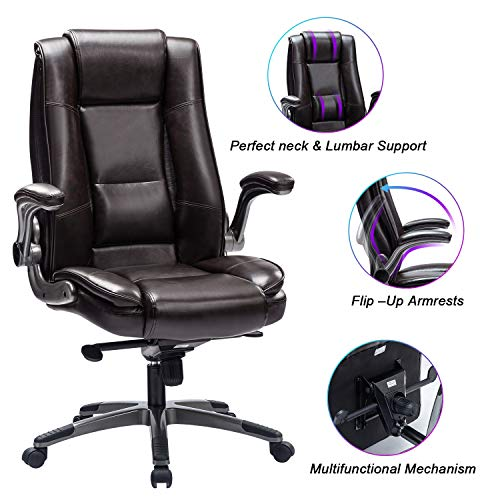 REFICCER Office Chair High Back Leather Executive Computer Desk Chair - Adjustable Tilt Angle and...