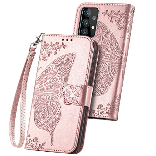 Wallet Case for Galaxy A52 4G/5G,PU Leather Flip Case Cover with Wrist Strap Cash Credit Card Slots Holder Pocket Emboss Butterfly Flower Protective Case for Samsung Galaxy A52 4G/5G Rose Gold