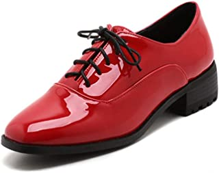 Bonrise Women's Classic Penny Loafers Lace Up Square Toe Patent Leather Low Heel School Dress Oxford Shoes