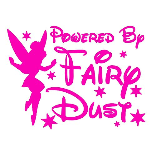 PanWenJuan -Powered by Fairy dust Car Bumper Vehicle Sticker - Funny Humour Sexy Naughty Rude Adult Van Boat Wall Tinkerbell Disney Pixie(30x22 cm) (Rose red)