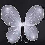 Yuxi Butterfly Wings Costume Toddler Dress Up Fairy Wings for Girls Halloween Angel Wings Costume Accessories(White)
