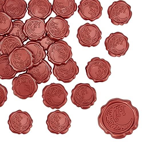 CRASPIRE - Pegatinas adhesivas para sellos de cera, 25 unidades, diseño de luna y estrellas, autoadhesivas, sellos, pegatinas decorativas, etiquetas de sobre, pegatinas rojas para...