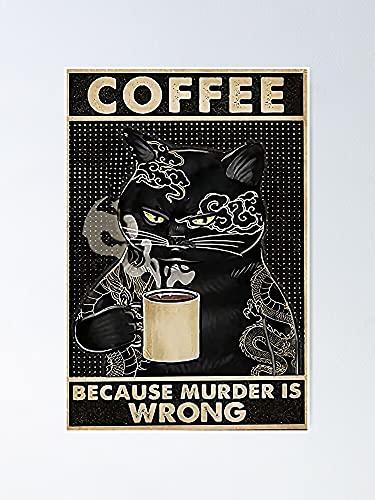 Situen Póster de café con gato negro, para decoración de oficina, dormitorio, aula, gimnasia y bestias lgbt, vacaciones, gran arte de pared inspirador