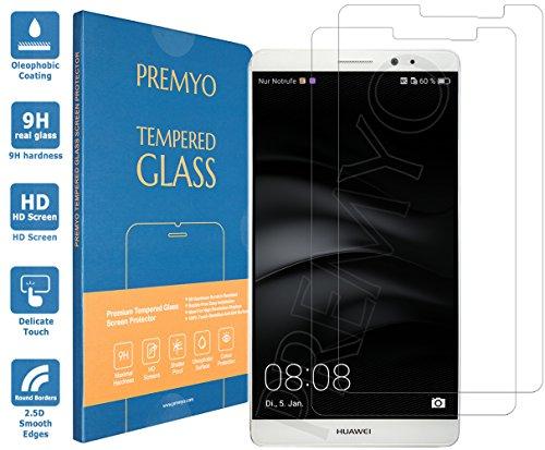 PREMYO 2 Stück Panzerglas Schutzfolie kompatibel mit Huawei Mate 8 - Blasenfrei Transparent Anti-Kratzer 9H Festigkeit