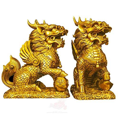 Ybzx Feng Shui - Juego de Adornos de Estatua de Dos latón Dorado Chi Lin/Kylin Wealth Prosperity Statue + Lucky Charm Monedas Antiguas en Hilo Rojo Decoración del hogar, A