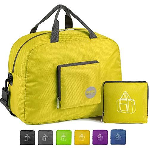 16' Foldable Duffle Bag 20L for Travel Gym Sports Lightweight Luggage Duffel, Yellow