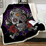 Sleepwish Fuzzy Sugar Skull Blanket Purple Rose Skull Blanket for Men Women Adults Kids Flower Skull Throw Blankets Candy Skull Sherpa Fleece Blanket Couch Blanket Cover Skull Lovers Gifts (50'x60')