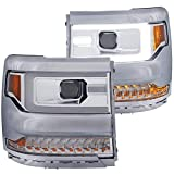 Anzo USA 111374 Projector Headlight Set Clear Lens Chrome Housing Amber Reflector Pair w/Plank Style Back Not For Use w/Factory LED Headlights w/o HID Kit Projector Headlight Set