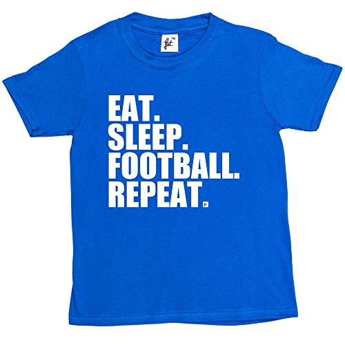 Fancy A Snuggle Eat. Sleep. Football. Repeat. Footy Kids Boys/Girls T-Shirt Royal Blue 9-11 Year Old