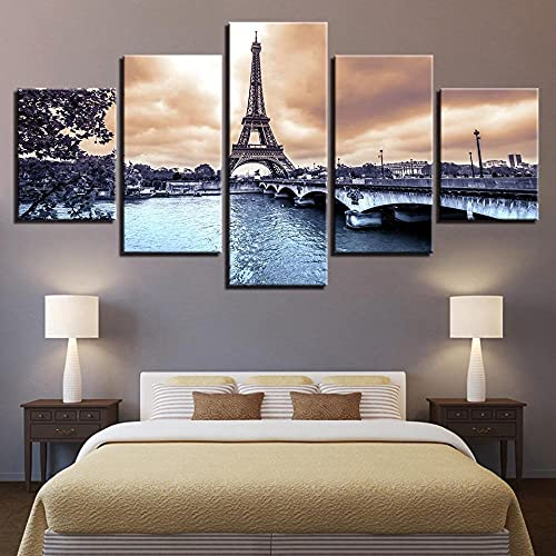 KOPASD Canvas Picture-5 Piece- Eiffel Tower -150x80cm-5 Part Panels-Ready to Hang-wall art print-Completely framed-Image printed-art on canvas-Christmas Ornaments