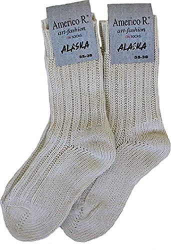 Americo R. Damen Herren Alaskasocken 2er Pack Wollweiß 39/42