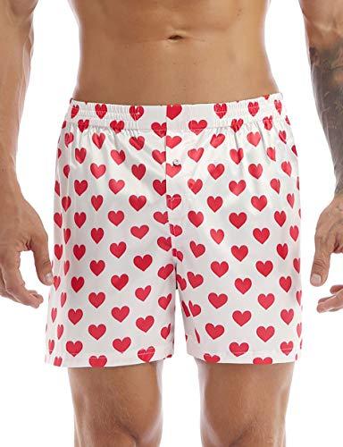 Yeahdor Pantaloncini da Uomo Boxer Stampata con Cuore Costume da Bagno Pantaloni Sportivi Traspiranti Biancheria Intima Lingerie Maschile per Valentine's Day Matrimonio Bianco E M