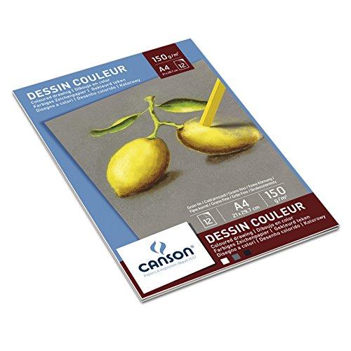 Canson 400041762 - Pastellpapier A4, 150 g/m², 12 Blatt, farbig Sortiert