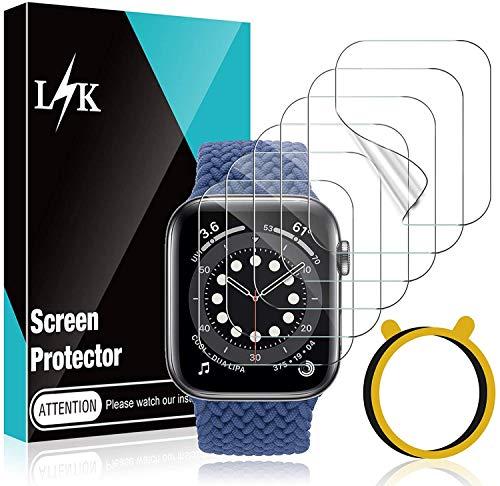 LϟK 6 Stücke Schutzfolie Folie Kompatibel mit Apple Watch 40mm Series 6/5/4/SE - Blasenfreie Kompatibel mit Hülle Flexible TPU Bildschirmschutzfolie