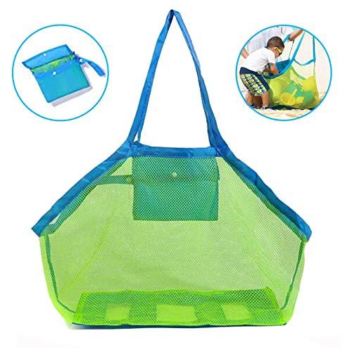 GeekerChip Strandtasche Strandspielzeug,- Netztasche Große Strandtasche Grün,Aufbewahrungstasche für Strandspielzeug Faltbare (Grün)