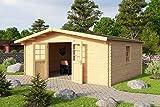Lasita Maja Gartenhaus Aktion 13 mit Doppeltür und seitlichem Einzelfenster I Wandstärke 40 mm
