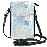 XCNGG Monedero pequeño Crossbody Blue Girl Rose Wedding AnimePhonepurse para mujeres Bolsos Cuero Multicolor Bolsos para teléfonos inteligentes Monedero con correa extraíble