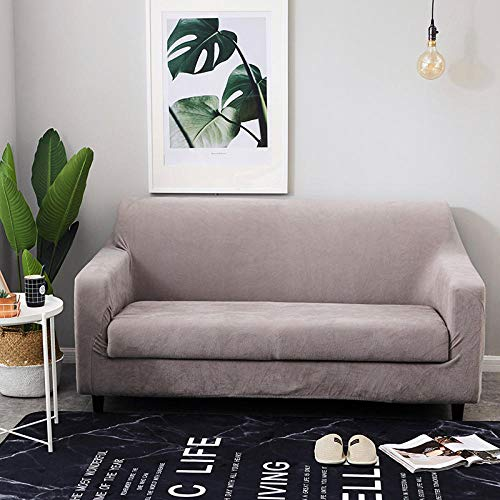 Allenger Protettore del Divano,Stretch Plush Sofa Cover, Solid Color Thick Sofa Cover, 1/2/3/4 Seat Sofa Cover Easy To Fit Elastic Fabric Stretch Sofa Cover (Gray)-235-300Cm