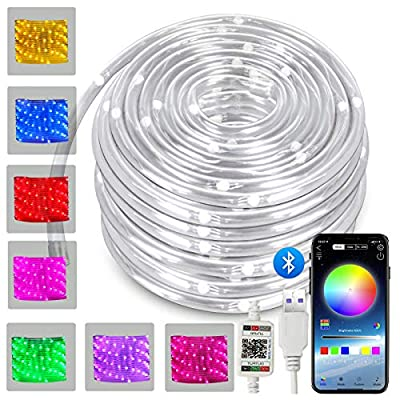 LED Rope Lights 33ft 100LED App Smart Color Changing Indoor Lights USB Multicolor Twinkle Tube Fairy Lights for Indoor Bedroom Wedding Christmas Party Waterproof Outdoor Decorations