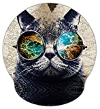Meffort Inc Mouse Pad with Wrist Rest Support & Non-Slip Base, Durable Ergonomic Gaming Mousepad - Cool Cat