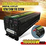 LiRongPing 10000W (Peak) 12 / 24V 220V UPS onduleur for Solaire/éolienne Rechargeable écran LCD 5000Watt Sine Wave Converter modifié (Size : 24V, Watts : 6000W)