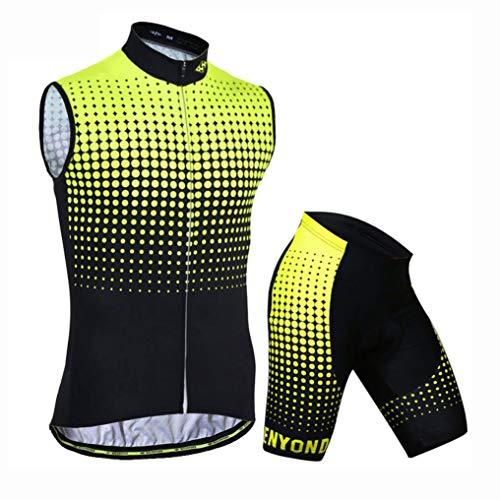 YXX Frühling/Sommer/Sommer Männer Radfahren Kleidung Set Fahrrad Ärmellos Anzug+Shorts Radbekleidung Silikonmatte,Gelb,XL