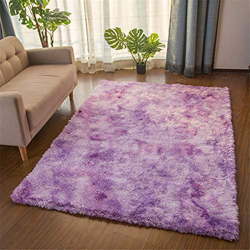 TROYSINC, tappeto a pelo lungo, a pelo lungo, morbido, per soggiorno, camera da letto (viola, 140 x 200 cm)