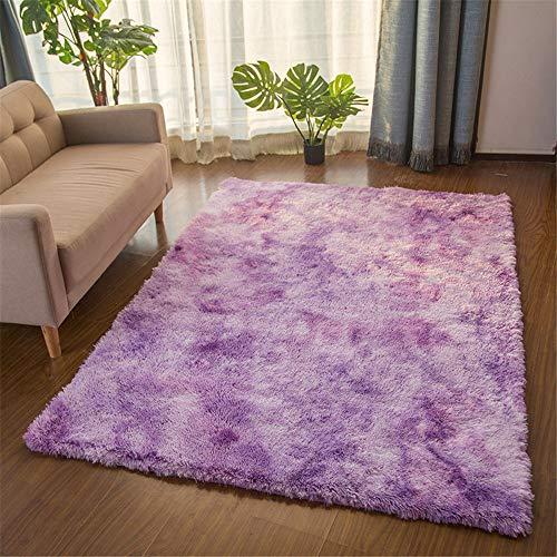 TROYSINC - Tappeto a pelo lungo, soffice, a pelo lungo, lavabile per soggiorno, camera da letto, Lilla, 80 x 160 cm